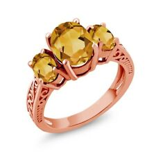 1.95 Ct Oval Yellow VS Citrine 14K Rose Gold 3-Stone Ring