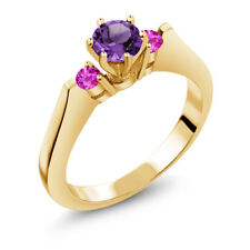 0.61 Ct Purple Amethyst Pink Sapphire 925 Yellow Gold Plated Silver 3-Stone Ring
