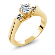 0.73 Ct Round White Topaz Diamond 925 Yellow Gold Plated Silver 3-Stone Ring