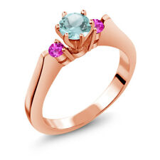0.86 Ct Round Sky Blue Topaz Pink Sapphire 14K Rose Gold 3-Stone Ring