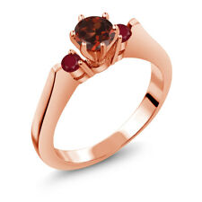 0.84 Ct Round Red Garnet Ruby 925 Rose Gold Plated Silver 3-Stone Ring