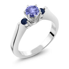 0.62 Ct Round Blue Tanzanite Sapphire 925 Sterling Silver 3-Stone Ring