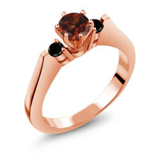 0.73 Ct Round Red Garnet Black Diamond 925 Rose Gold Plated Silver 3-Stone Ring
