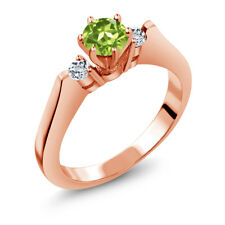 0.76 Ct Round Green Peridot White Topaz 925 Rose Gold Plated Silver 3-Stone Ring