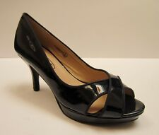 Spot On F10069 CP1 Ladies Navy Patent Peep Toe Court Shoes