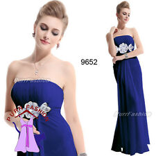 09652 Rhinestones Chiffon Blue Strapless Evening Long Bridesmaid Dress 8-18