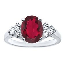 2.48 Ct Oval Ruby Red Mystic Quartz 14K White Gold Ring