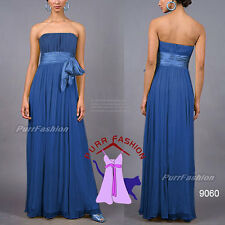Sexy Blue Strapless Chiffon Maxi Prom  Evening Long Bridesmaid Dress UK 6-18