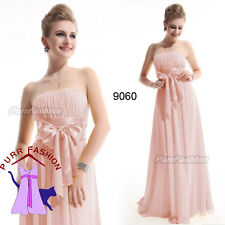 Sexy Baby Pink Strapless Chiffon Maxi Prom Evening Long Bridesmaid Dress UK 6-18