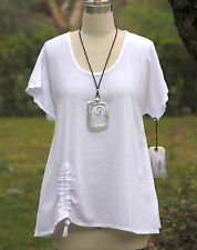 OH MY GAUZE Cotton Ruched  ANA A-Line Top 1 (S/M) 2 (L/XL) 3 (1X/2X)  White SNOW