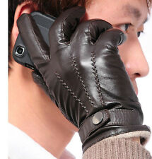 Fashion Mens Genuine Leather Lambskin Wrist Gloves warm winter gloves 3 Lines