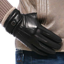 New Fashion Men Genuine Leather Lambskin Wrist Gloves warm winter gloves 3 Lines