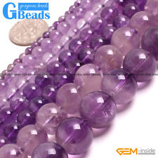 """Natural Light Amethyst Gemstone Round Beads Free Shipping 15"""" 5mm 6mm 8mm 12mm"""