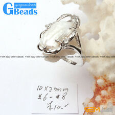 10x20mm Pearl White Gold Plated Ring #6 - #8 Send At Random Size Fashion Jewelry