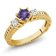 0.73 Ct Purple Amethyst White Topaz 18K Yellow Gold Plated Silver 3-Stone Ring