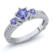 0.70 Ct Round Blue AAA Tanzanite 925 Sterling Silver 3-Stone Ring
