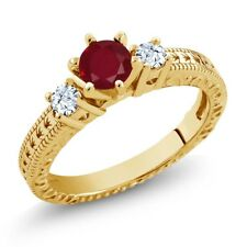 0.84 Ct Round Red Ruby White Topaz 14K Yellow Gold 3-Stone Ring