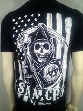 FALL '13 AUTHENTIC SONS OF ANARCHY AMERICAN FLAG B/W SOA SAMCRO T SHIRT S-3XL