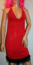 Red Party / Clubbing Feather Mini Dress + Thong Size 8/10