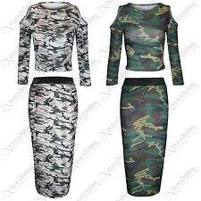 NEW WOMENS ARMY LOOK CAMOUFLAGE CROP TOPS PENCIL SKIRTS LADIES STRETCH TOP SKIRT