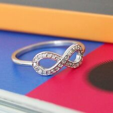 14k Solid White Gold 1/10ct Natural Diamonds Infinity Sign Ring
