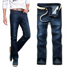 Korean Design Mens Jeans Relaxed Boys Slim Fit Staright Stretch Pants Trousers