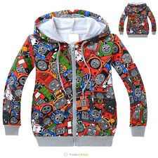 2 3 4 5 6 7 8 Toddler Kids Boys Thomas the Train Hooded Zip Jacket Hoodie HD6775