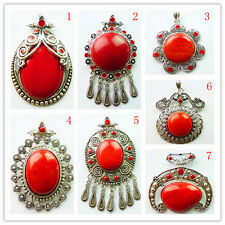 Plated- Silver Wrapped Red Turquoise Pendant Bead HH-33