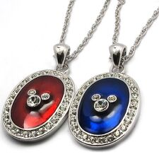 Disney Mickey 29mm Oval Red or Blue Enamled Crystal Necklace 18kgp Rope Chain