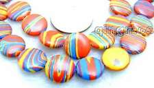 """Charming! Big 15mm Red zebra stripe Coin shape agate beads strands 15"""" -los556"""