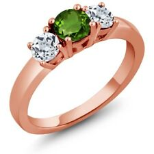 1.16 Ct Round Green Chrome Diopside White Topaz 925 Rose Gold Plated Silver Ring