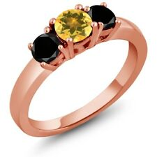 0.99 Ct Round Yellow Citrine Black Diamond 925 Rose Gold Plated Silver Ring