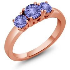 1.06 Ct Round Blue Tanzanite 925 Rose Gold Plated Silver Ring