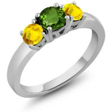 1.22 Ct Round Green Chrome Diopside Yellow Sapphire 925 Sterling Silver Ring