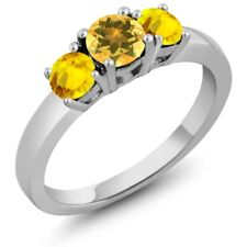 1.17 Ct Round Yellow Citrine Yellow Sapphire 925 Sterling Silver 3-Stone Ring