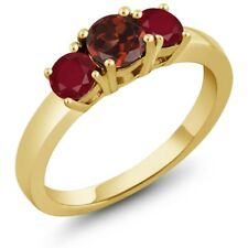 1.20 Ct Round Red Garnet Red Ruby 925 Yellow Gold Plated Silver 3-Stone Ring