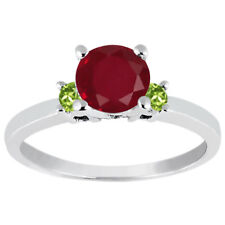 1.19 Ct Round Red Ruby Green Peridot 925 Sterling Silver Engagement Ring