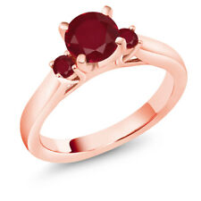 1.28 Ct Round Red Ruby 14K Rose Gold 3-Stone Ring