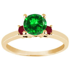 1.74 Ct Round Green Simulated Emerald Red Ruby 14K Yellow Gold Engagement Ring