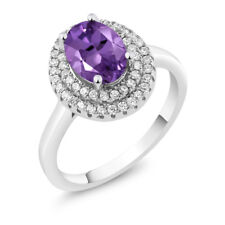 2.30 Ct Oval Natural Purple Amethyst 925 Sterling Silver Ring
