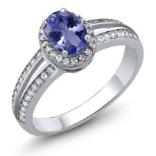 1.05 Ct Oval Natural Blue Tanzanite 925 Sterling Silver Ring