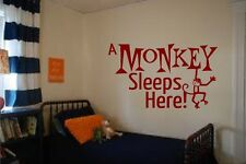 A MONKEY SLEEPS HERE KIDS ROOM HOME DECOR VINYL WALL DECAL STICKER 30+ COLORS