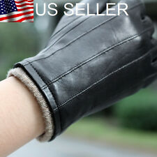 Stylish Men's Genuine Lambskin Leather Gloves Black Great Christmas Present