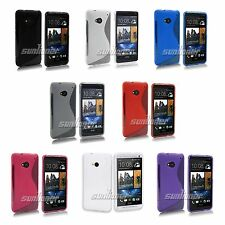 Gel Rubber TPU Skin Cover Case For HTC ONE M7