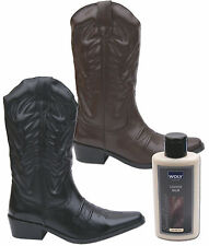 Mens New Black Brown Leather 30cm Cowboy Western Boots + Balm Free UK Postage