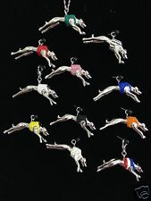 3D Solid Crystal Race Greyhound Dog Pendant - by Zedelle Jewellery