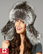 Womens Silver Fox Fur & Leather Russian Ushanka Hat Brand: Frr Made in Canada