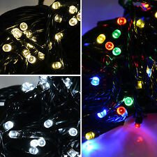 100 White / Multi Colour LED Fairy Lights Flashing Functions Christmas Outdoor