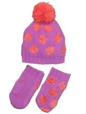 Girls Infant Or Toddler and Polka Dot Winter Pom Pom Hat with Mittens by Carters
