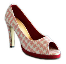 Vintage DOGTOOTH 40s Retro PEEP TOES High Heels Rockabilly Schuhe